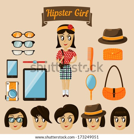 Hipster character elements for nerd woman with customizable face look and clothing vector illustration - stock vector