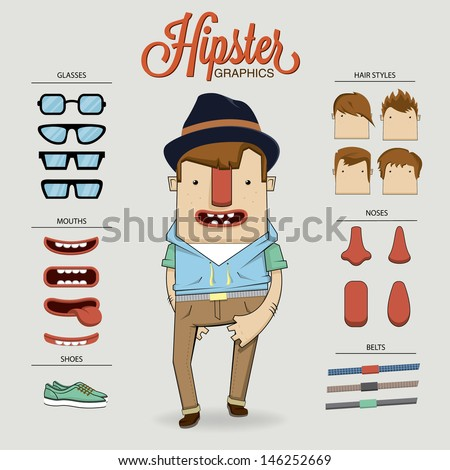 Hipster character illustration with character elements and icons - stock vector