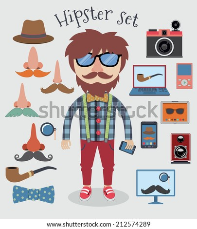 Hipster character pack design elements for boy isolated vector illustration - stock vector
