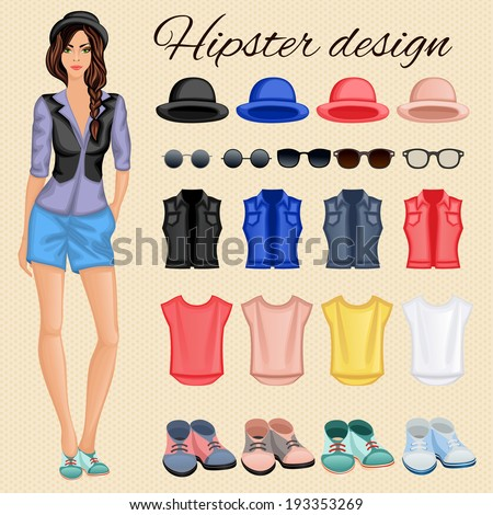 Hipster character pack design elements for female girl with accessory and clothing isolated vector illustration - stock vector