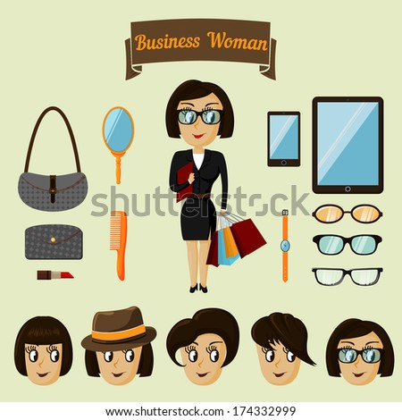 Hipster character pack for business woman with accessory and facial elements vector illustration - stock vector