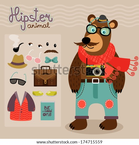Hipster character pack for geek animal teddy bear with accessory clothing and facial elements vector illustration - stock vector