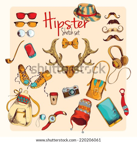 Hipster character pack sketch decorative icons colored set with horns gumshoes cap isolated vector illustration - stock vector