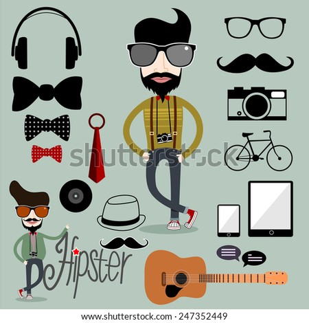 Hipster character with hipster elements and icons.vector - stock vector