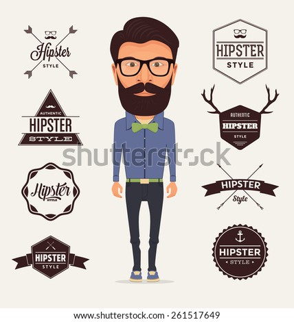 Hipster Character with Trendy Typographic Elements - stock vector