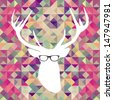 Hipster Christmas Deer silhouette over triangle pattern background. Vector file layered for easy manipulation and custom coloring. - stock vector