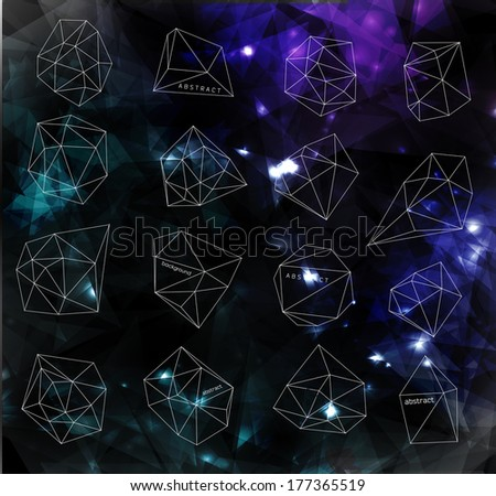 Hipster cosmic  bubble and label, polygonal triangles and space background - stock vector