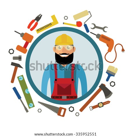 Hipster craftsman and tools in flat design. Vector graphic in contemporary style - stock vector