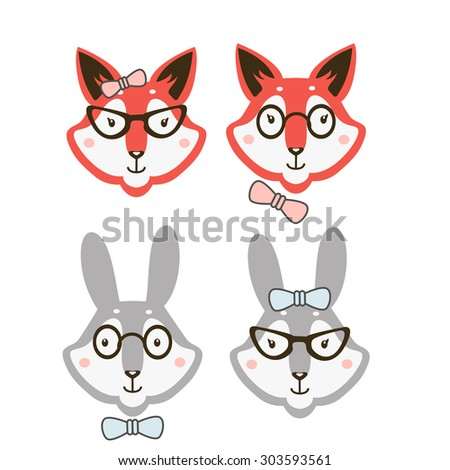 hipster cute animals couple - stock vector