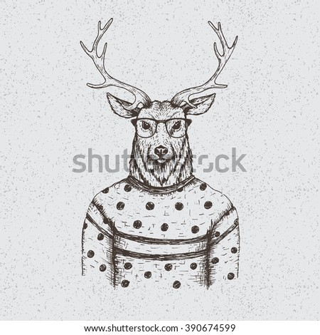 Hipster deer dressed in the blouse.Handmade work.Typography design for t-shirts