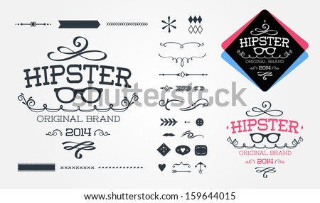 Hipster design elements - stock vector