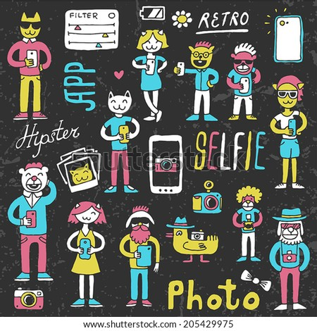 Hipster doodles selfie set colorful on dark. Hand drawn vector illustration. - stock vector