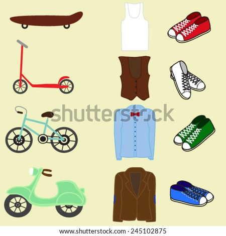 Hipster elements and icons set with Hipster Character - stock vector