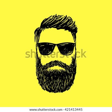 Hipster fashion man hair and beards, Hand drawn vector illustration - stock vector