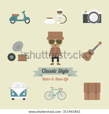 hipster gadget, retro and vintage style
