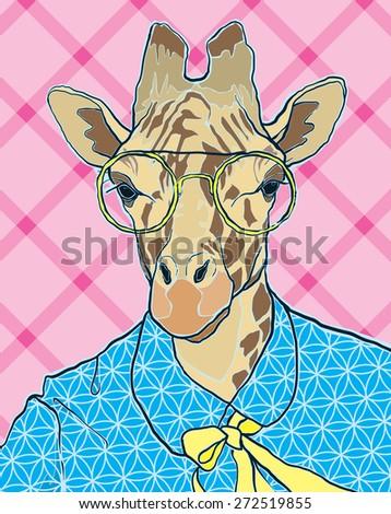hipster giraffe vector illustration - stock vector