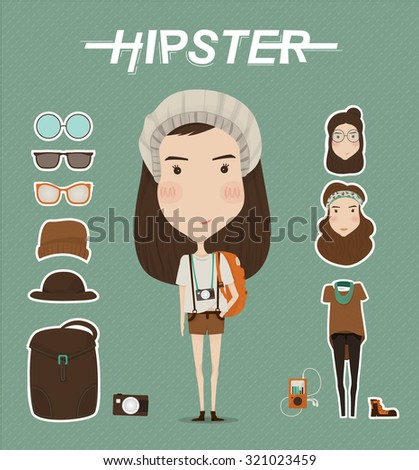 Hipster girl character with hipster elements and icons - stock vector