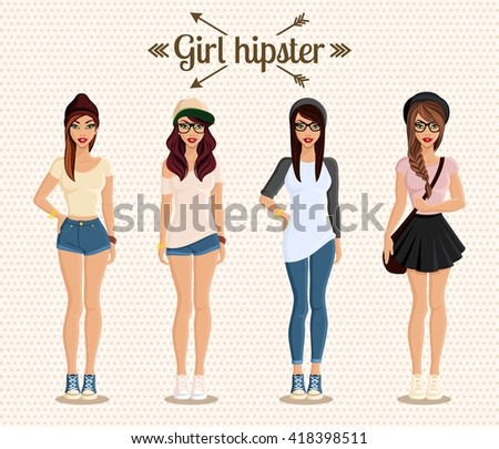 Hipster girl in full-length collection of hairstyles and clothes. Young teenager avatar. Isolated vector illustration