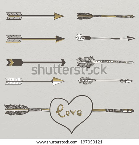 Hipster graphic set: hand drawn arrows - stock vector