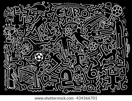 Hipster Hand drawing Doodle Vector Illustration of Funny people,Football, soccer match - stock vector