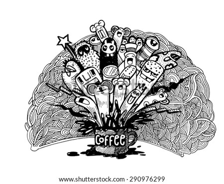 Hipster Hand drawn Coffee lettering and doodles monster background, illustrator line tools drawing,Vector illustration.
