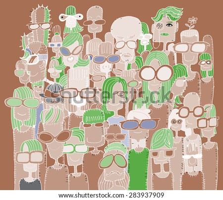 Hipster hand drawn Doodle crowd of happy people in sunglasses.Vector illustration. - stock vector