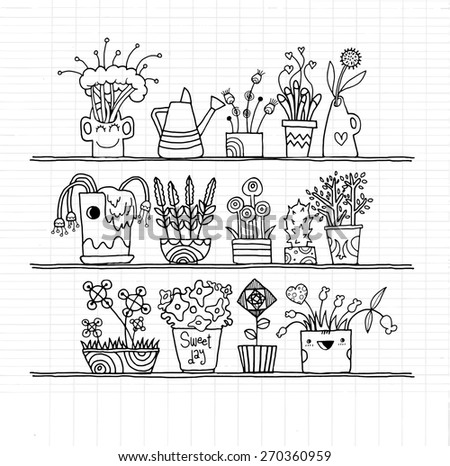 Hipster hand drawn Flowers In Pots, doodle set,drawing style Pen on Paper Notebook .Vector illustration. - stock vector