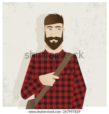 Hipster handsome man in vector illustration - stock vector