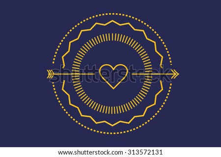Hipster heart logo. Heart vector icon. Royal love, Premium boutique and Fashion logo. Heart silhouette. Heart shape. Together heart logo, Wedding, Love, Medical heart - stock vector