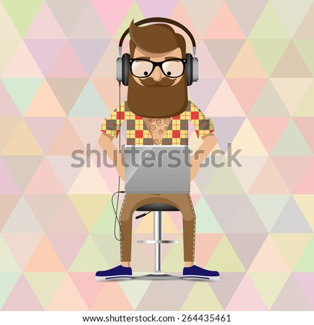 hipster in headphones is seating on the bar chair and working with laptop - stock vector