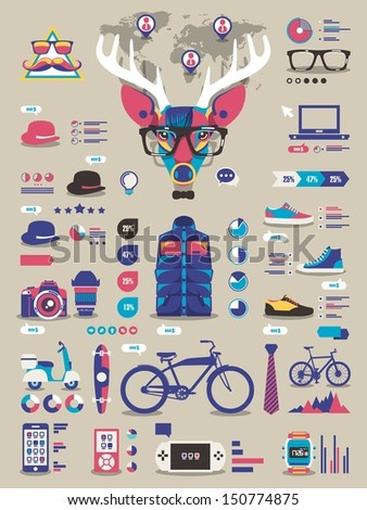 hipster info graphic elements and icons,vector background - stock vector