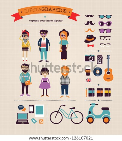 Hipster infographic concept background with icons - stock vector