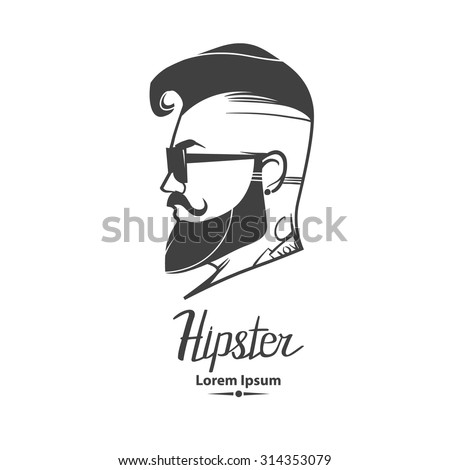 hipster label badge, for logo, simple iilustration, man, profile view  - stock vector
