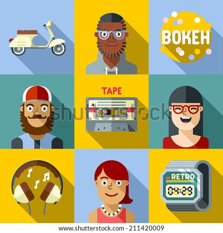 Hipster lifestyle flat long shadow design square icon set 1. Trendy illustrations.