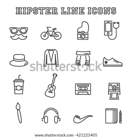 hipster line icons, mono vector symbols - stock vector