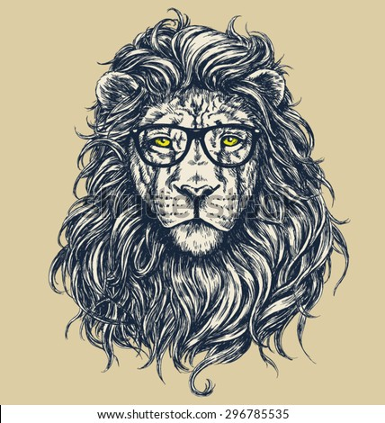 Hipster lion vector illustration. Glasses separated.  - stock vector