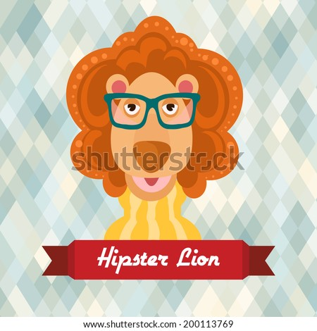 Hipster lion with glasses on rhombus background vector illustration - stock vector
