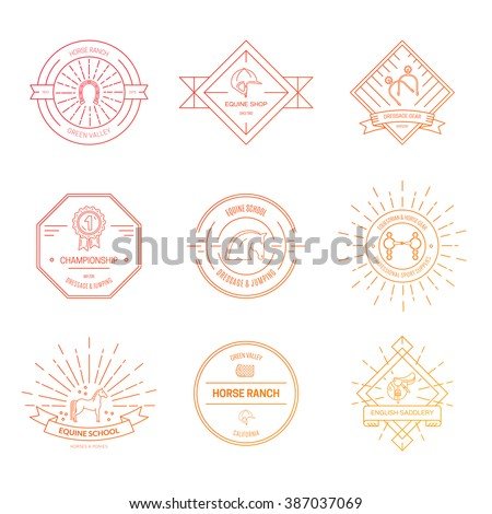 Hipster logo bundle with horse equipment. Equine and equestrian label collection. Saddle, bit, spurs and other horse riding gear. - stock vector