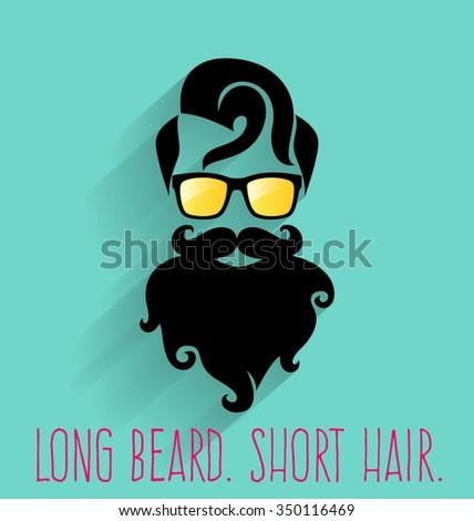 Hipster. Long Beard.  - stock vector