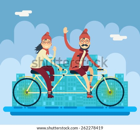 Hipster Male Female Characters Riding Companion Tandem Bicycle Concept Urban Landscape City Street Background Creative Flat Design Vector Illustration - stock vector