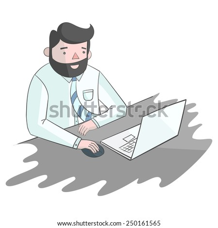 Hipster man beard with notebook laptop color vector illustration - stock vector