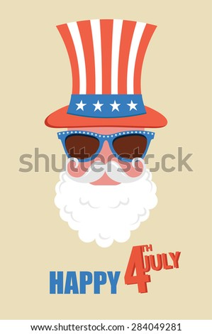 Hipster man celebrate  independence day of  United states of America. 4th of July. Vector illustration - stock vector
