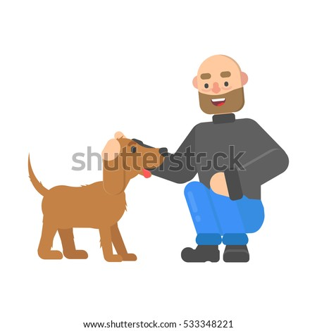 Hipster man petting a dog cute dog in cartoon style.