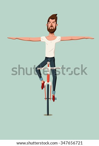 Hipster man riding a bike without holding the handlebars. Vector illustration.