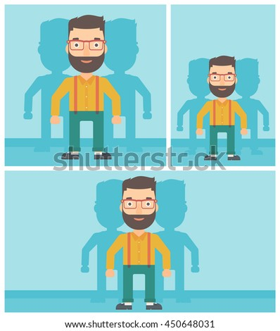 Hipster man standing with some shadows behind him. Candidat for a position stand out from crowd. Concept of staff recruitment. Vector flat design illustration. Square, horizontal, vertical layouts. - stock vector