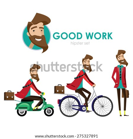hipster man walking, riding a bicycle, riding a scooter