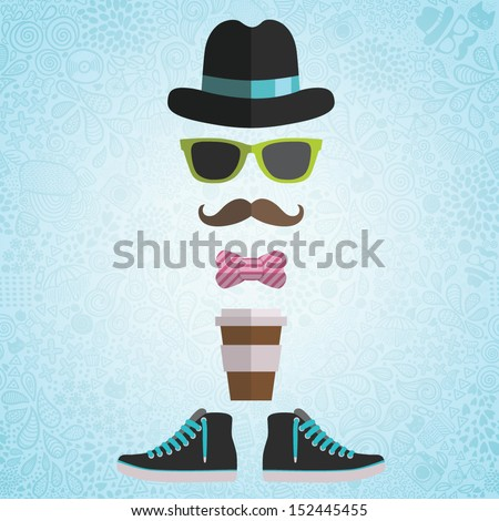 Hipster man with hat, glasses, bow, coffee paper cup, sneakers on doodle background - stock vector