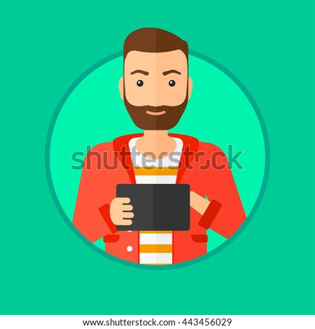 Hipster man with the beard using a tablet computer. Businessman working with a digital tablet. Vector flat design illustration in the circle isolated on background. - stock vector