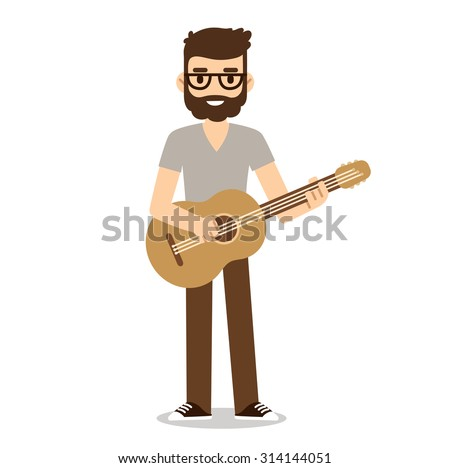 Hipster musician with beard and glasses playing acoustic guitar.  Indie music guitarist in cute flat cartoon style.  - stock vector