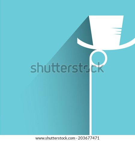hipster mustache and eyeglass, blue background, flat and shadow theme - stock vector